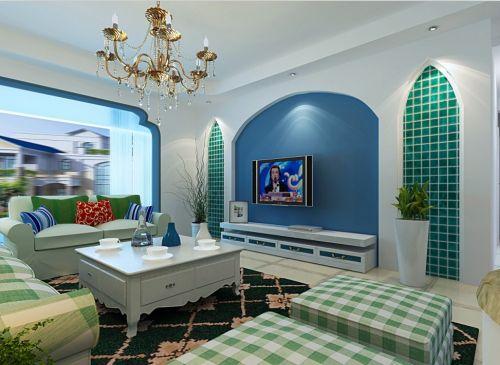 蓝绿地中海客厅