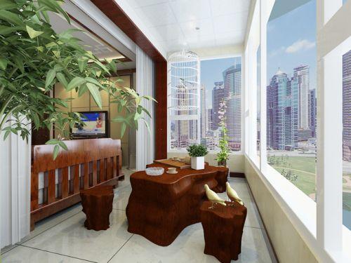 新中式风格阳台效果图