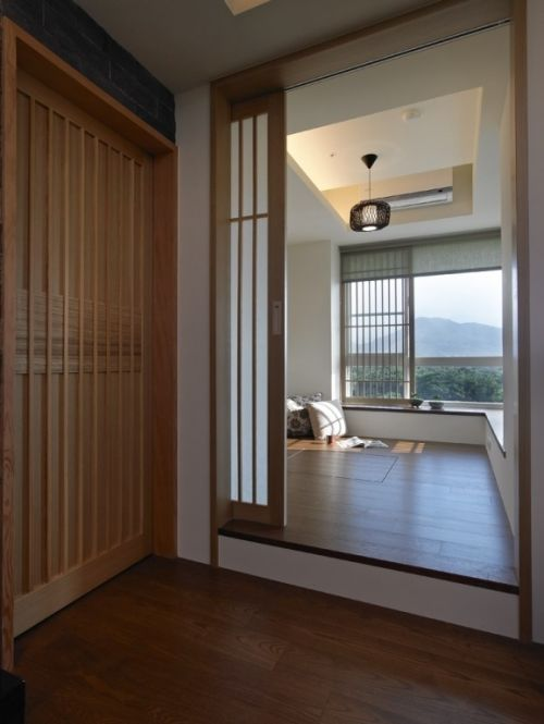 日式晚上飘窗效果图