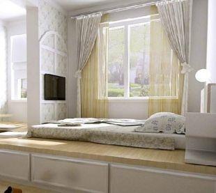 现代简约卧室地台效果图