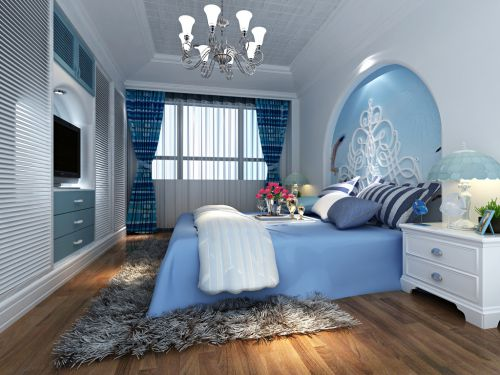 蓝色的卧室装潢