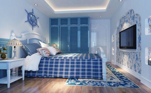 蓝色简约的卧室效果图