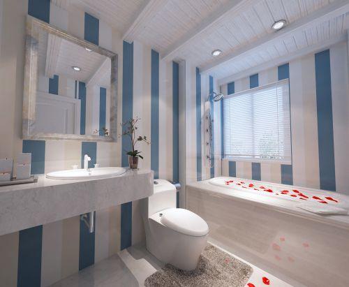 蓝色的简约卫生间设计