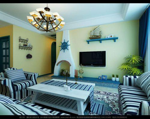 蓝色系客厅装潢