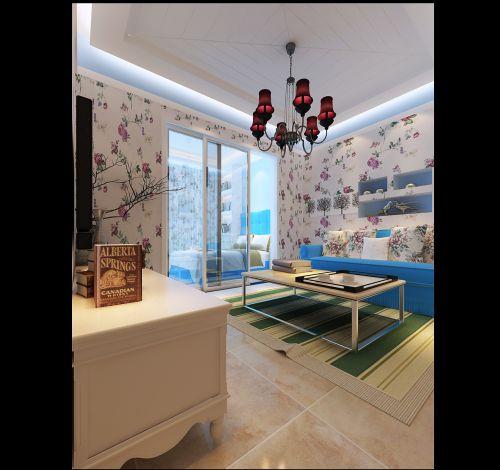 蓝色地中海客厅装潢