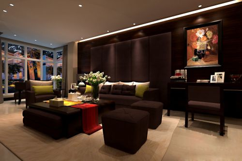 美式咖啡色客厅设计