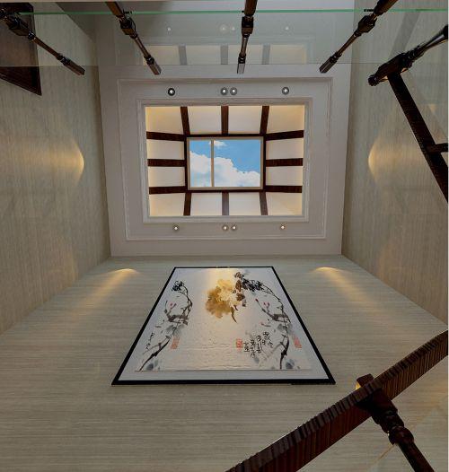 白色中式客厅吊顶效果图