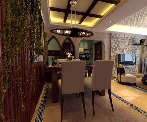 咖啡色优雅的餐厅效果图