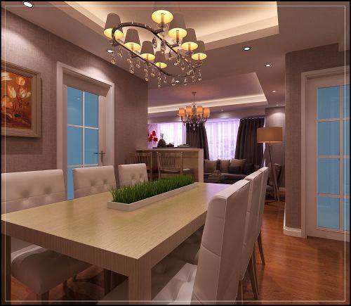 美式简约风格的餐厅效果图