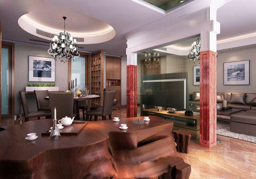 欧式和中式混搭的餐厅装潢