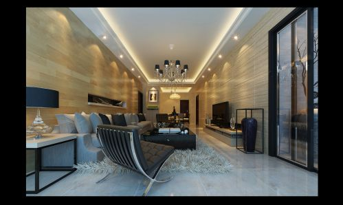 简约木制客厅背景墙设计