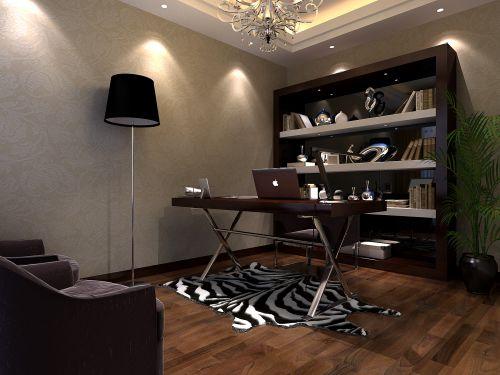 时尚的咖啡色书房效果图