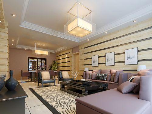 宽敞的紫色沙发客厅装修