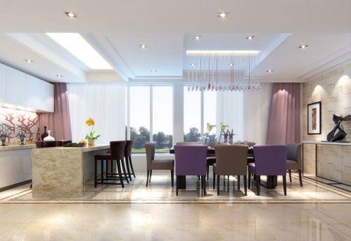 现代时尚的紫色餐厅设计