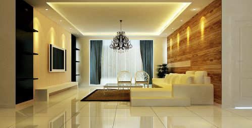米色简约干净的客厅设计