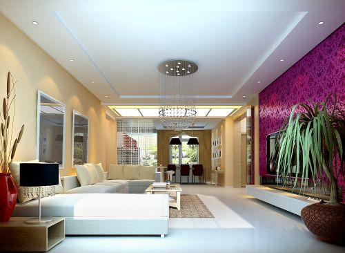 紫色电视背景墙客厅装修