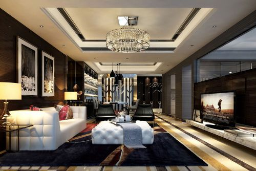 豪华霸气的黑色客厅装修