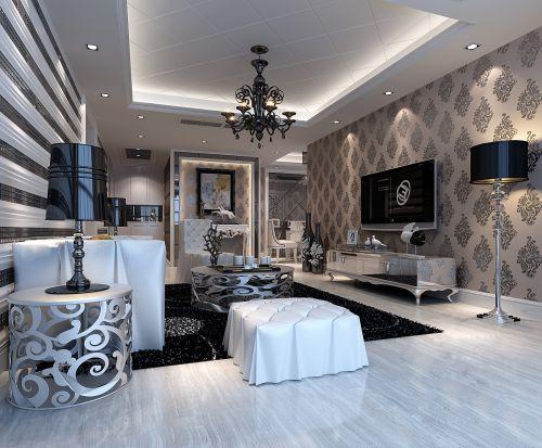 豪华黑色欧式风格的客厅装潢