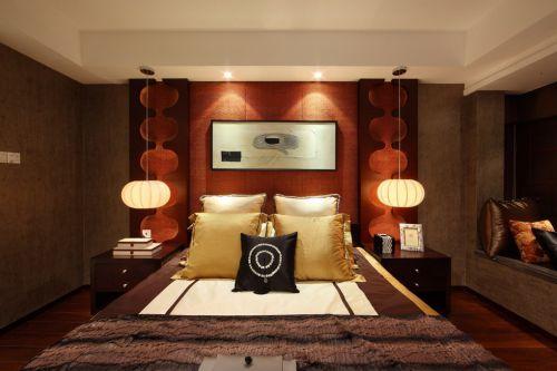 现代红褐色的卧室效果图