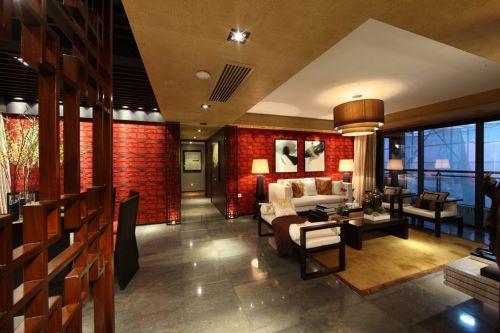 红色简约美式客厅效果图