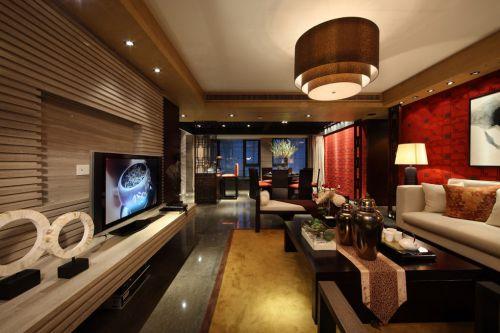 红色有情调的美式客厅装修