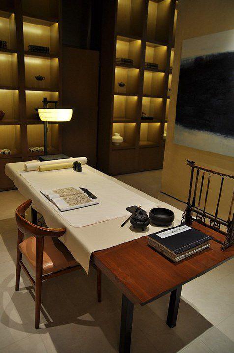 中式的简约书房效果图
