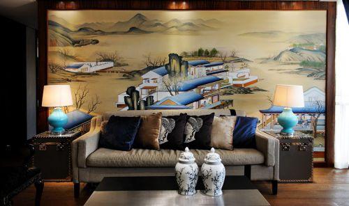 中式背景图的客厅设计
