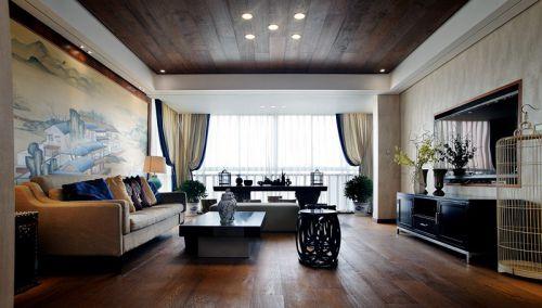 新中式木质黄色的客厅装潢