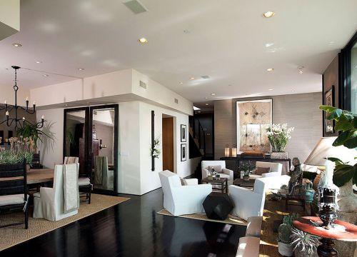 黑色地面美式客厅设计