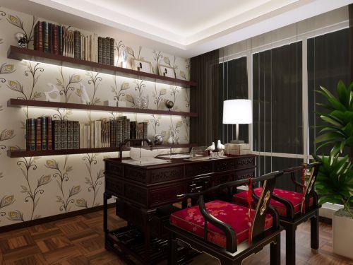 咖啡色新古典书房装修
