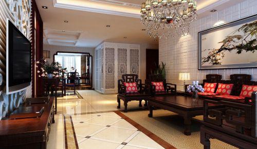 豪华吊灯的古典客厅效果图