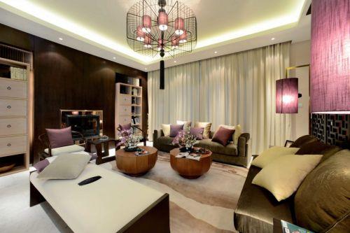 粉色点缀的简约客厅装潢