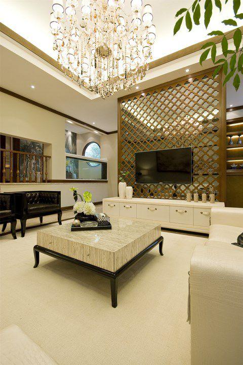 简欧白色客厅设计