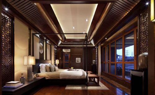 咖啡色古典中式卧室效果图