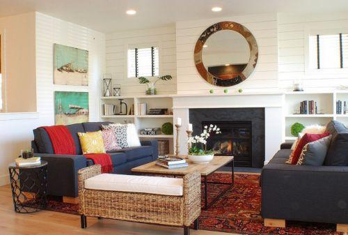 混搭风格客厅壁炉设计