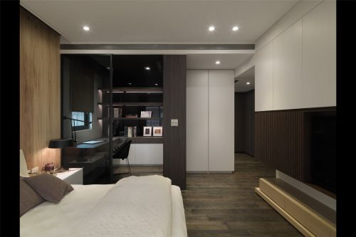 黑色的卧室工作区效果图