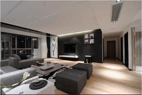 黑灰色的简约客厅装修