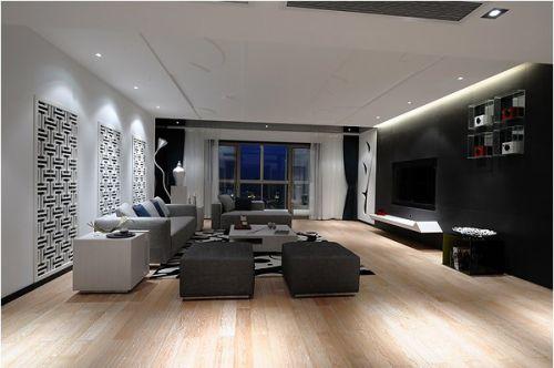 灰黑色的简约客厅装修