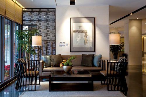 新中式咖啡色客厅沙发装潢