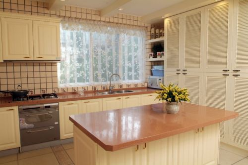 欧式田园开放式厨房装修效果图