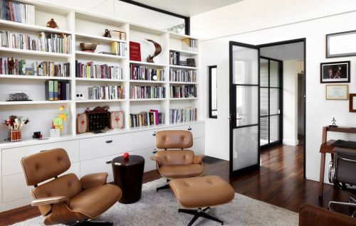 美式简约书房装潢效果图