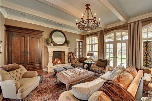 美式简约风格客厅墙面设计效果图