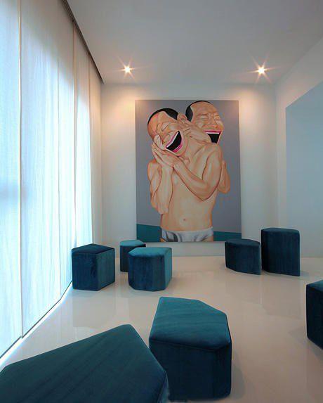 蓝色的创意家庭影院设计