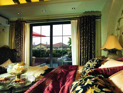 东南亚风格卧室落地窗装修效果图