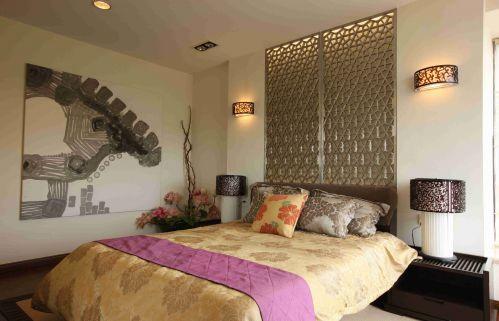 东南亚风格卧室背景墙装饰图片