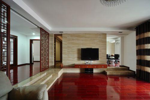 红色地板的混搭风格客厅装潢
