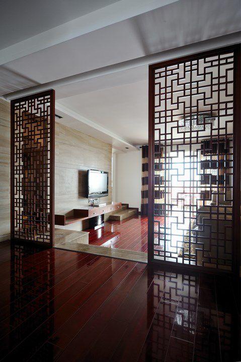 客厅镂空雕花隔断效果图