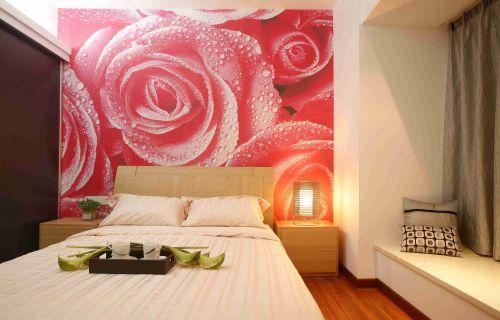 日式风格卧室背景墙装潢效果图