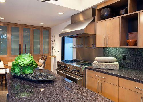 大理石厨房吧台效果图