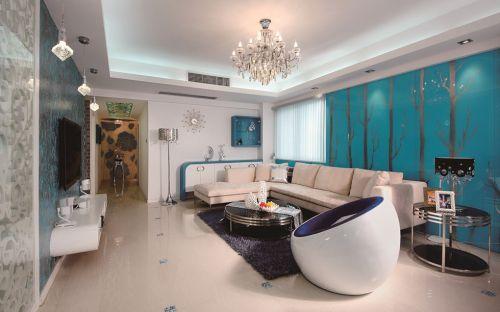 浪漫蓝色简约客厅背景墙